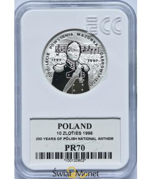 10 zł 200-lecie powstania Mazurka Dąbrowskiego 1996 GCN PR70