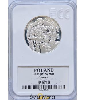 10 zl Jan III Sobieski półpostać 2001 GCN PR70
