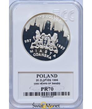 20 zł Tysiąclecie Miasta Gdańska 1996 GCN PR70