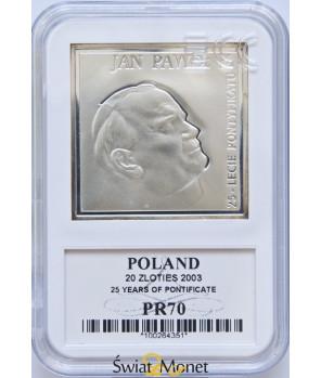20 zl Jan Paweł II 25-lecie Pontyfikatu 2003 GCN PR70