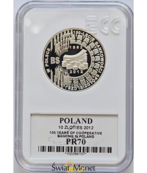 10 zł 150-lecie bankowości spółdzielczej 2012 GCN PR70