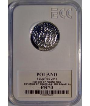5 zł denar Bolesława Chrobrego 2013 GCN PR70