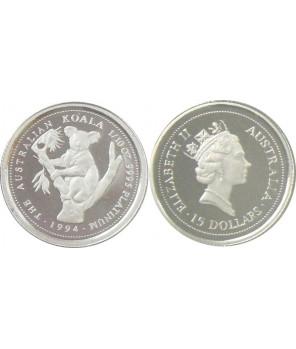 AUSTRALIA 15 $ 1994 KOALA PLATYNA 1/10 Oz
