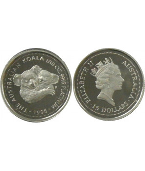 AUSTRALIA 15 $ 1996 KOALA PLATYNA 1/10 Oz