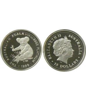 AUSTRALIA 15 $ 1999 KOALA PLATYNA 1/10 Oz