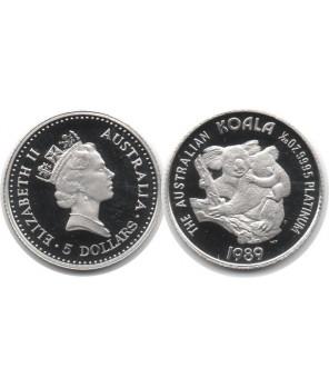 AUSTRALIA 5 $ 1989 KOALA PLATYNA 1/20 UNCJI