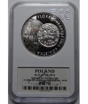 20 zł floren Władysława Łokietka 2015 GCN PR70