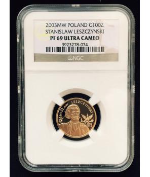 100 zł Stanisław Leszczyński 2003 NGC PF69