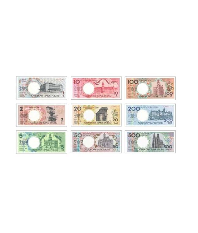 """Zestaw banknotów """"Miasta Polskie"""" banknoty miasta polskie"""
