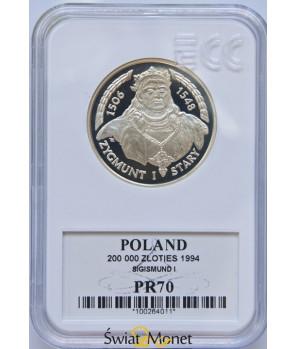 200 000 zł Zygmunt I Stary popiersie 1994 GCN PR70