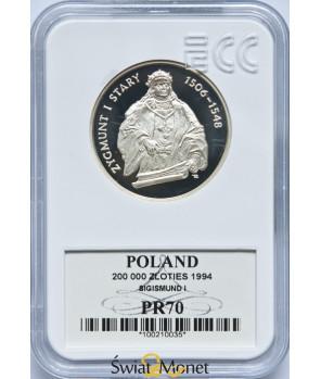 200 000 zł Zygmunt I Stary półpostac 1994 GCN PR70
