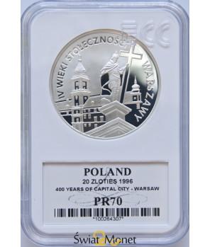 20 zł IV wieki stołeczności Warszawy 1996 GCN PR70