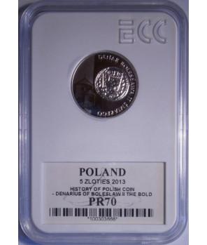 5 zł denar Bolesława Śmiałego 2013 GCN PR70