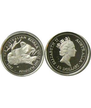 AUSTRALIA 15 $ 1997 KOALA PLATYNA 1/10 Oz