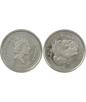AUSTRALIA 5 $ 1997 KOALA PLATYNA 1/20 UNCJI