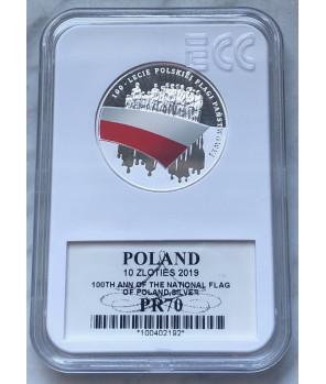 10 zł 2019 100-lecie polskiej flagi państwowej GCN PR70
