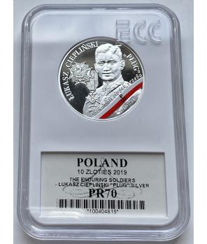 """Moneta 10 zł Łukasz Ciepliński """"Pług"""" GCN PR70"""