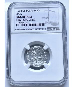 POLSKA , TROJAK 1594 Ryga NGC UNC DETAILS