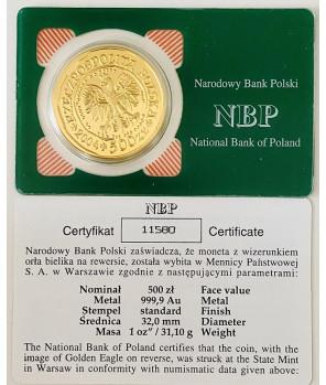 Złota moneta 500 zł Orzeł Bielik 2004