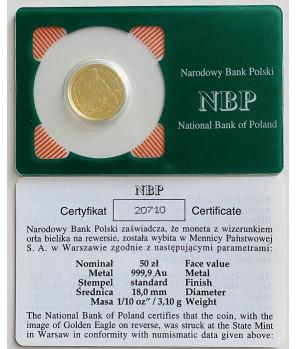 Złota moneta 50 zł Orzeł Bielik 2009