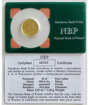 Złota moneta 50 zł Orzeł Bielik 2008