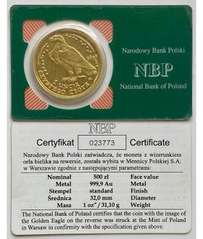 Złota moneta 500 zł Orzeł Bielik 2011
