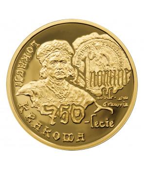 Złota moneta 200 zł 750 lecie lokacji krakowa