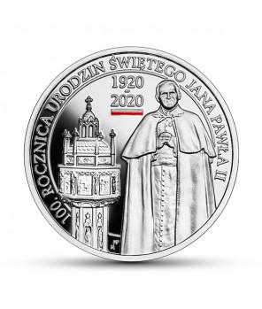 Srebrna moneta 10 zł 100. rocznica urodzin Jana Pawła II
