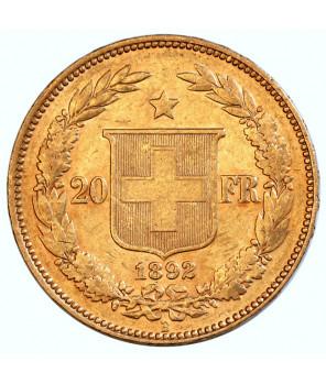 Szwajcaria - 20 Franków 1892